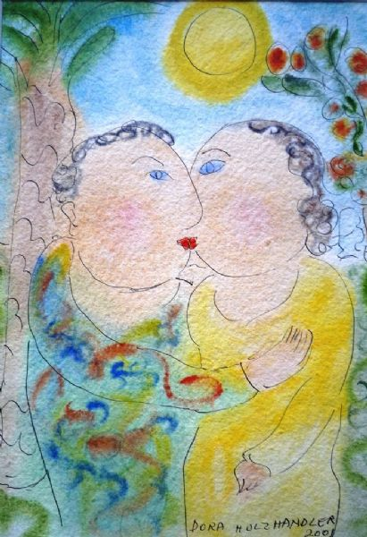 Dora Holzhandler The Couple watercolour painting